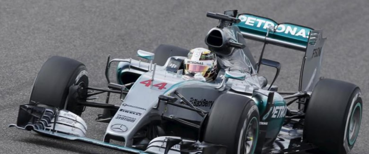 Mercedes Formula One driver Lewis Hamilton of Britain drives during the Japanese F1 Grand Prix at the Suzuka circuit in Suzuka, Japan