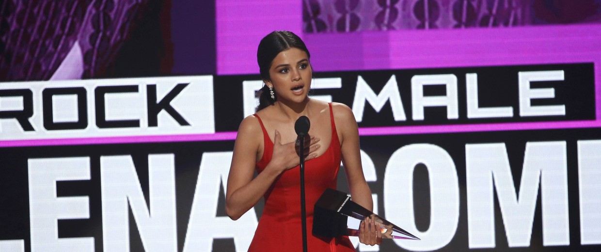 Image: Selena Gomez accepts the award for favorite female pop/rock artist at the 2016 American Music Awards in Los Angeles