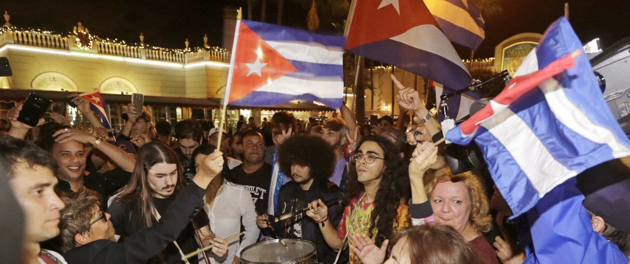 Image: Celebrations in Miami's Little Havana area after Fidel Castro's death