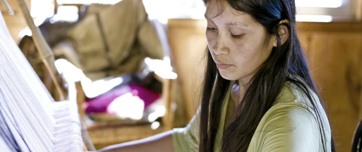 One of the Chilean weavers with VOZ, the ethical fashion luxury brand working with indigenous South American artisans.