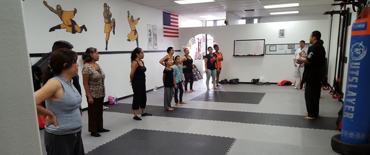 LAPD officer Maurice Gomez teaches a women's self-defense class.