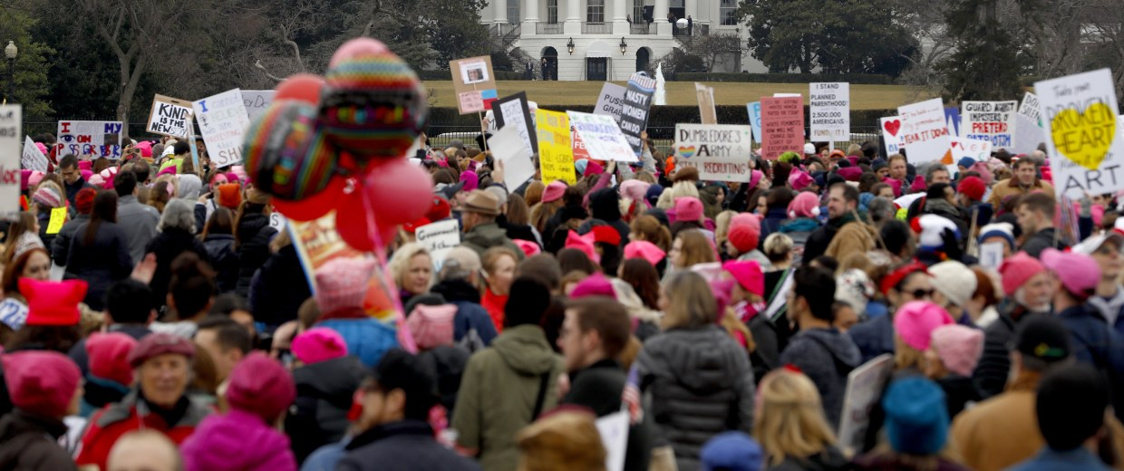 Image: Protesters gather near the White House during the Women's March on Washington, Jan. 21, 2017 in Washington, DC.
