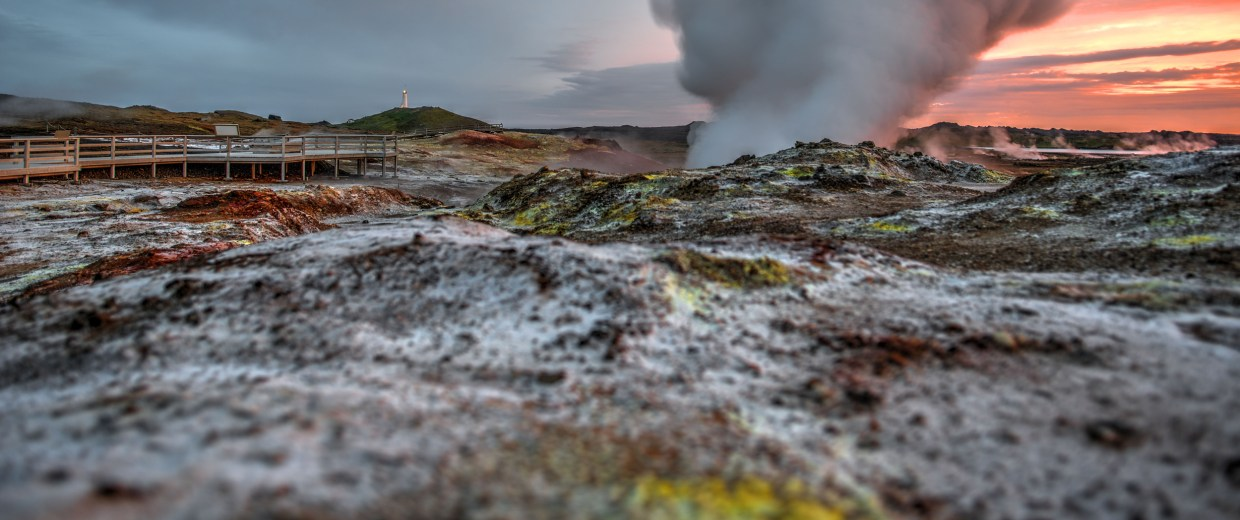 Image: The Gunnuhver Hot Spring is pictured on June 27, 2016 not far from the Reykjanes Lighthouse in the southwest part of the Reykjanes Peninsula, Iceland.