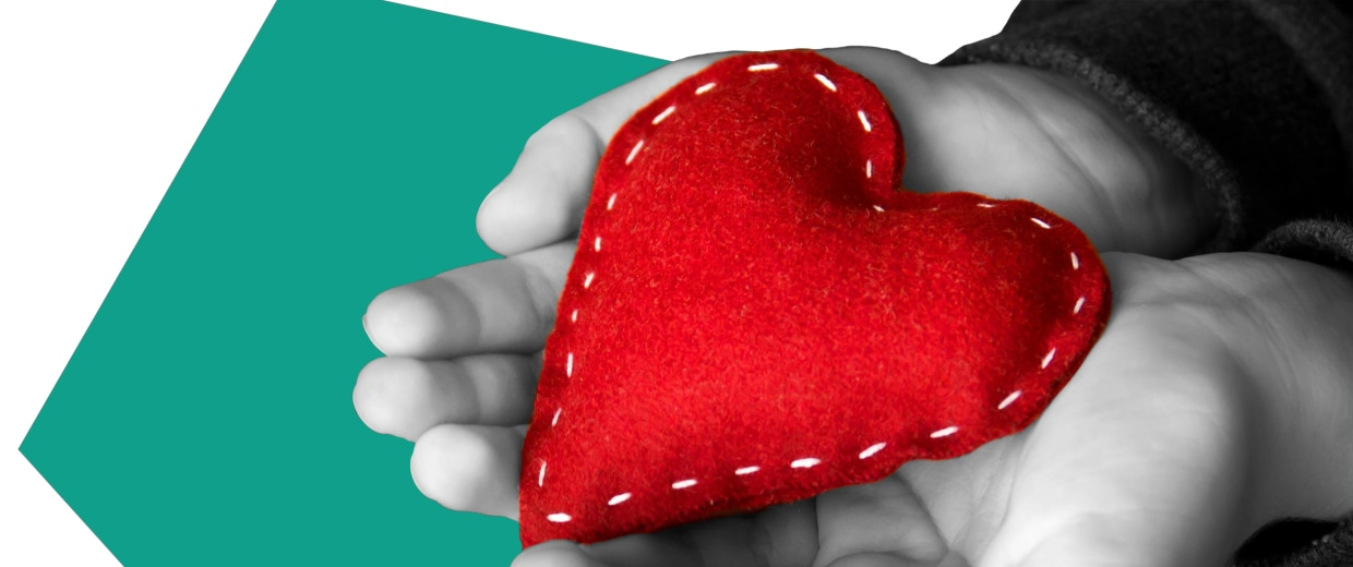 Image: Illustration of two hands holding a plush heart by NBC Photo Illustration