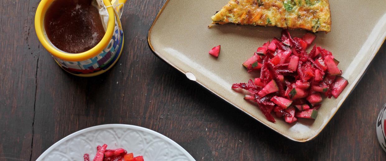 Image: Kale, leek and cheese frittata