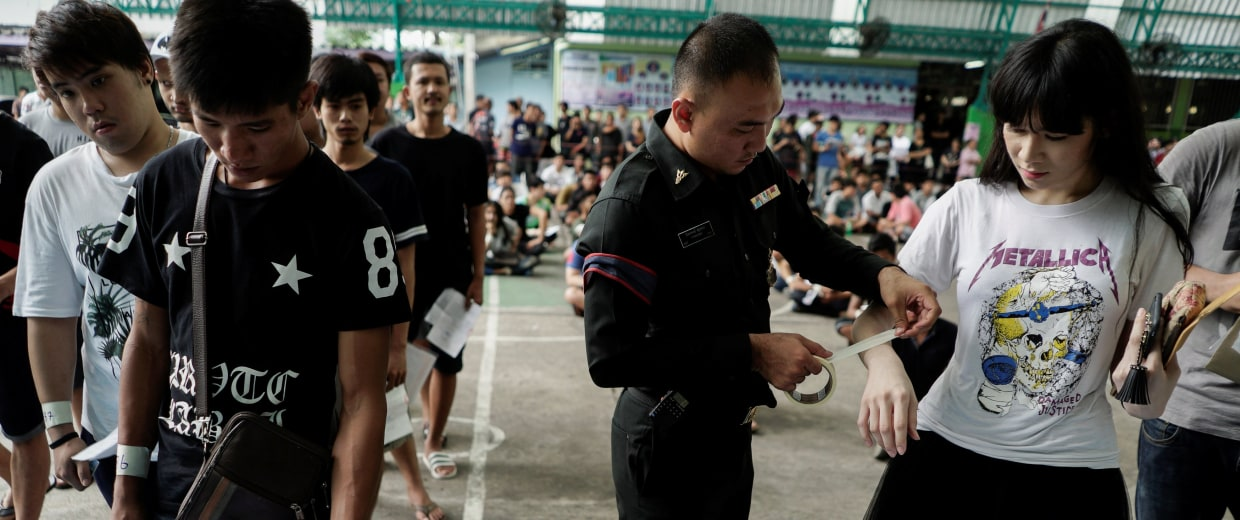 Transgender woman at Thai army draft