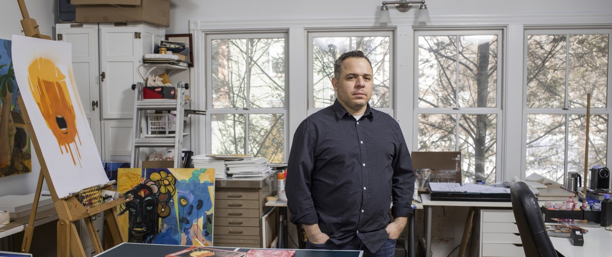 Image: Illustrator Edel Rodriguez photographed in his New Jersey studio, Feb. 15, 2017. His recent illustrations critical of President Donald J. Trump have been a point of controversy.