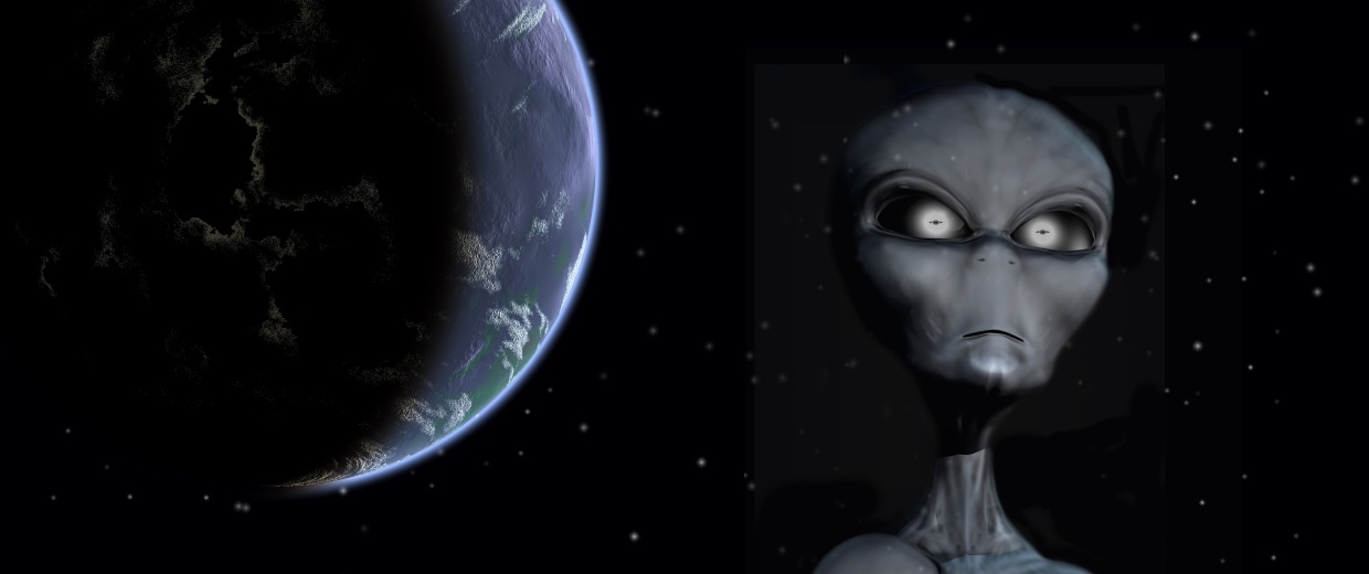 A Grey Alien standing against an outer space background, with planet Earth.