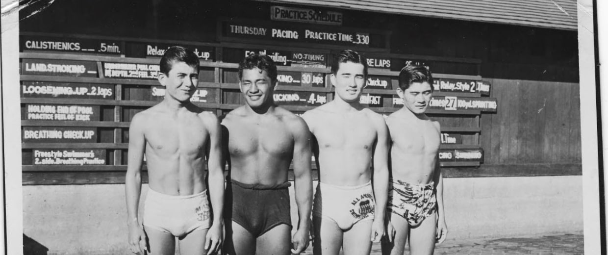 Members of the Three-Year Swim Club, including Halo Hirose and Keo Nakama