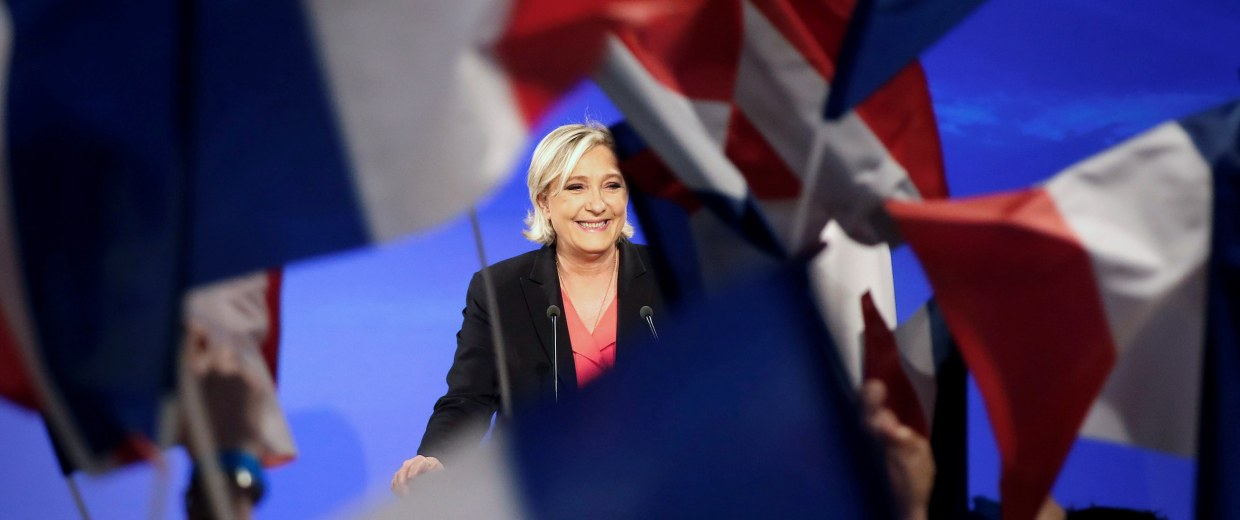 Image: Marine Le Pen, French National Front political party candidate for French 2017 presidential election, concedes defeat at the Chalet du Lac in the Bois de Vincennes in Paris after the second round of 2017 French presidential election