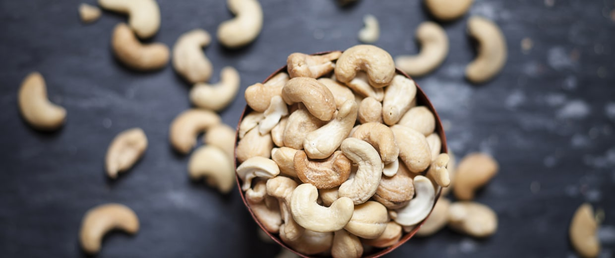 Image: Bowl of roasted and salted cashew nuts