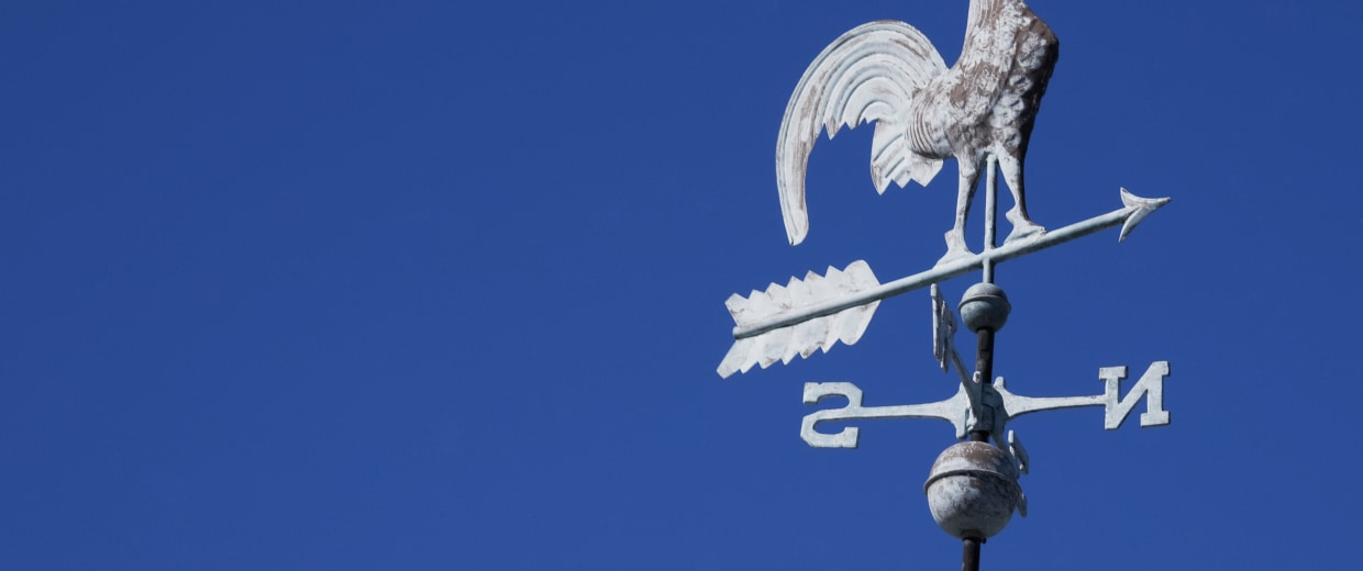 Low angle view of a weather vane