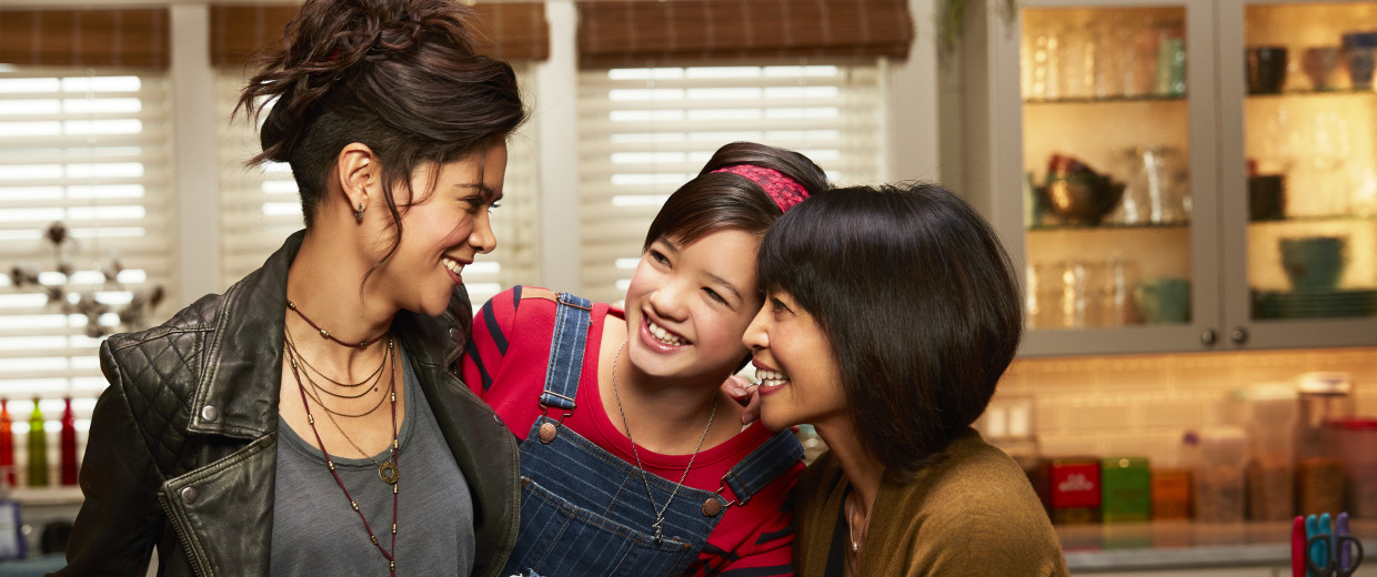 "The women of Disney's ""Andi Mack,"" from left to right: Lilan Bowden, Peyton Elizabeth Lee, Lauren Tom."