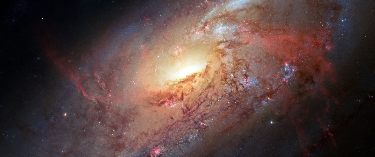 Image:  Located a little over 20 million light-years away, the spiral galaxy Messier 106.