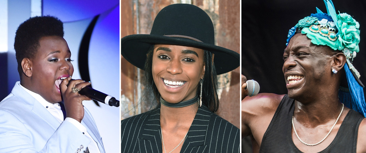 Image: A combo image of Alex Newell, Angel Haze and Le1f