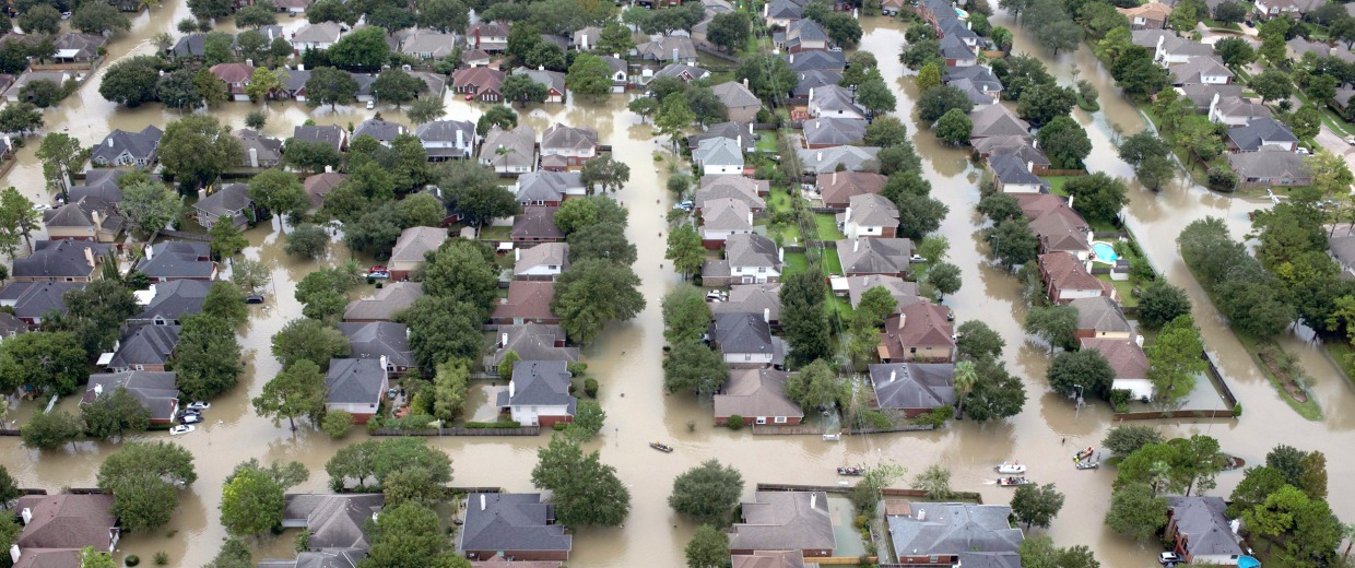 Image: Houses are seen submerged in flood waters caused by Tropical Storm Harvey in Houston