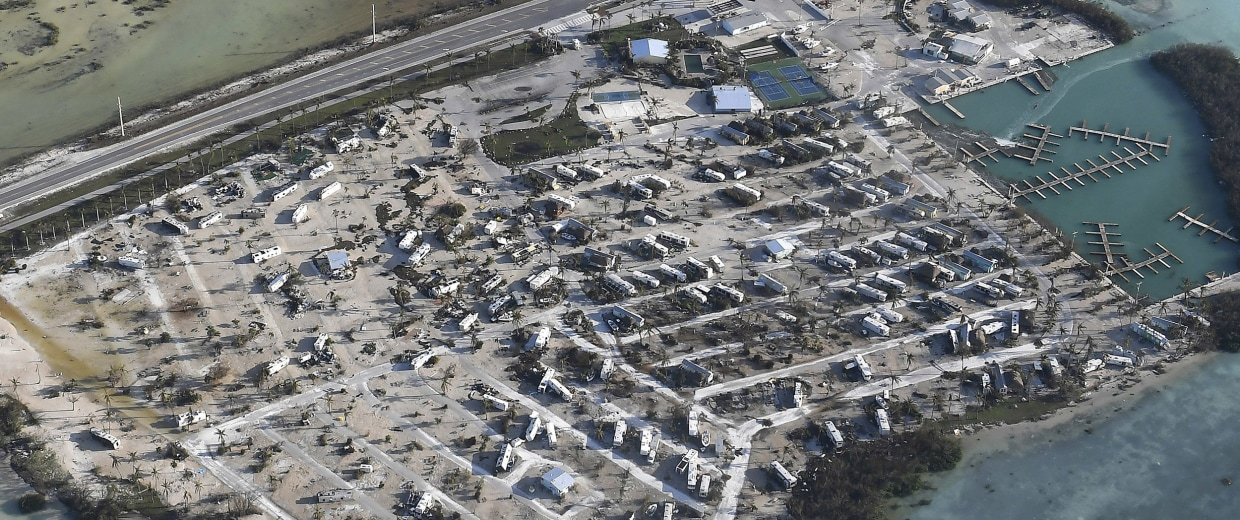Image: Overturned trailer homes are shown in the aftermath of Hurricane Irma