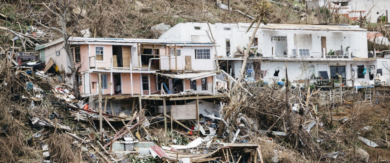 Image: Homes destroyed by Hurricane Irma in St. Thomas, U.S. Virgin Islands.