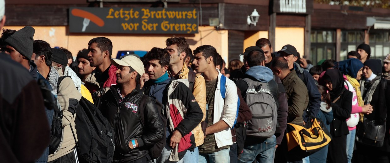 Image: Migrants arrive at Austrian-German border on Oct. 28, 2015