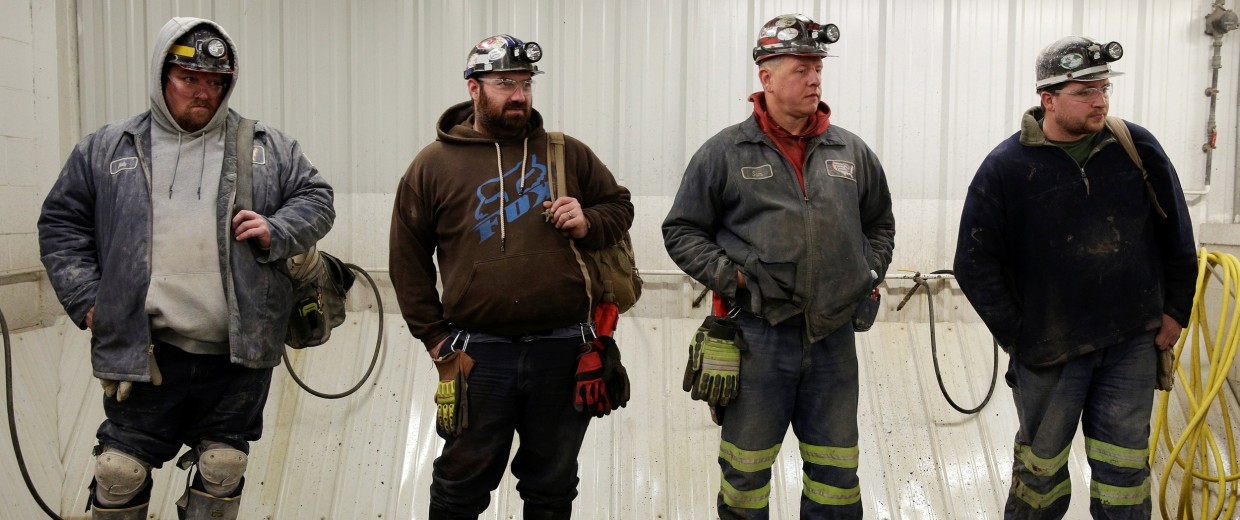 Image: Miners wait to start their shifts at the American Energy Corporation Century Mine in Beallsville, Ohio
