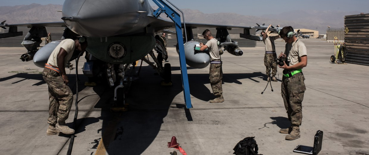 Image: Members of the U.S. Air Force deployed for Mission Resolute Support prepare an F-16 Jet for a flight at Bagram Air Field