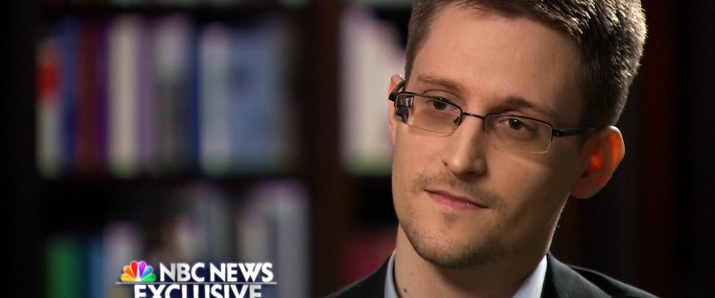 Image: Brian Williams speaks with Edward Snowden during an exclusive interview.