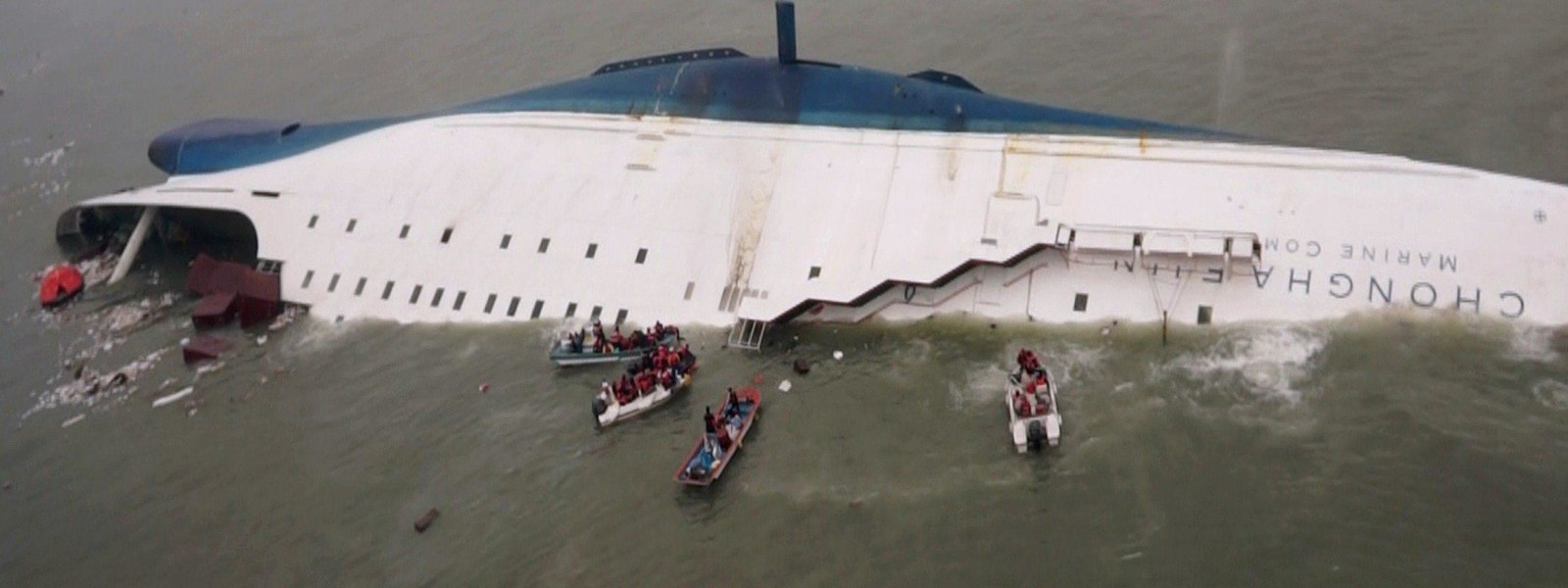 Image: Rescue operations underway for passengers on a South Korean ferry