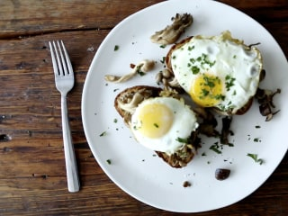 Hot Dish: mushroom toast with an egg on top