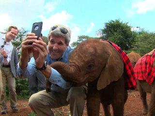 John Kerry Takes a Selfie with a Baby Elephant