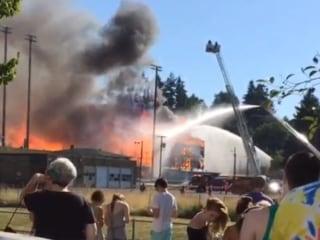 Historic Oregon Stadium Engulfed in Flames