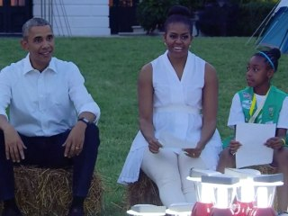 Obama Visits Girl Scout Camp Out