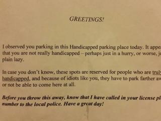 Note Shames Mother for Using Handicap Parking