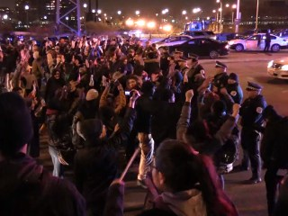 Protesters Take to Chicago Streets, Vandalize Christmas Tree