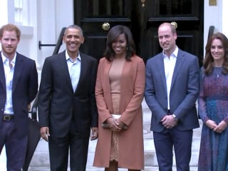 William, Kate and Harry Greet Obamas at Kensington Palace