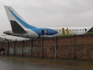 Plane Slides Off Runway in Ecuador