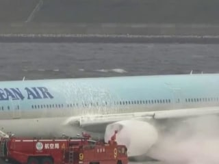 Korean Air plane catches fire moments before takeoff