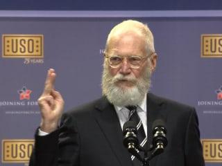 David Letterman Teases President, VP at USO Celebration