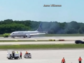 Plane Tire Catches Fire at Tampa Airport