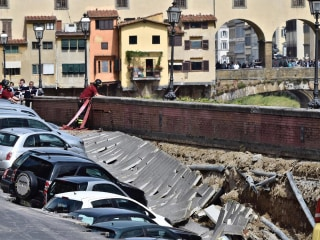 Sinkhole Swallows Cars Near 670-Year-Old Landmark