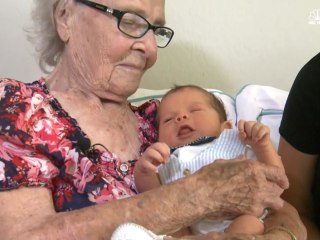 Grandma and Great-Great-Grandson Born Exactly 100 Years Apart