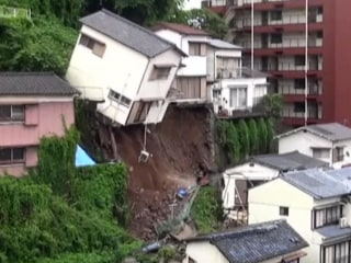 Caught on Camera: House Topples Over After Landslide