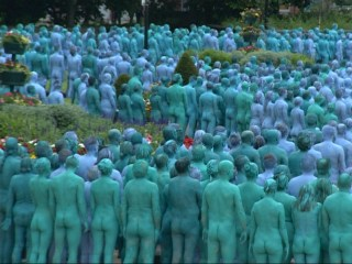 Thousands Strip for Nude Human Art Installation