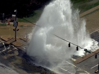 Water Main Break Shuts Down Intersection