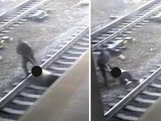 With Seconds to Spare, Hero Cop Saves Man on Train Tracks