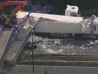 Watch Truck Crushed by Bridge on UK Motorway