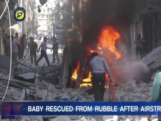 Baby Rescued From Rubble After Airstrike in Syria