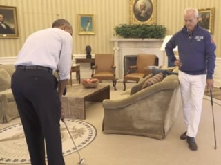 Pres. Obama, Bill Murray Play Golf, Talk ACA