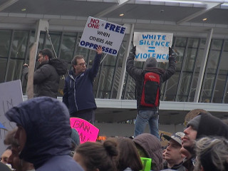 Demonstrators Gather at Airport to Protest Trump Travel Ban
