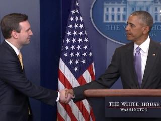 Pres. Obama Surprises Josh Earnest at Last WH Press Briefing
