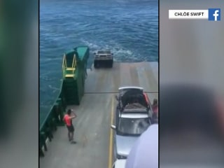 Tourists Watch Rental Car Roll Off Ferry and Sink